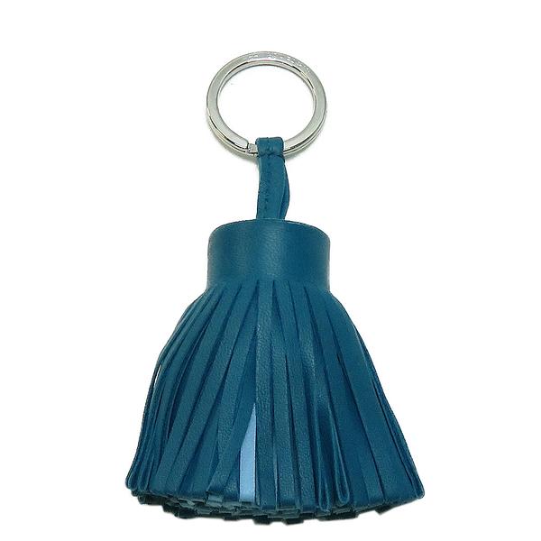 HERMES 愛馬仕 Carmen Key Ring Bag Charm 藍色皮革流蘇鑰匙圈吊飾 【二手名牌BRAND OFF】