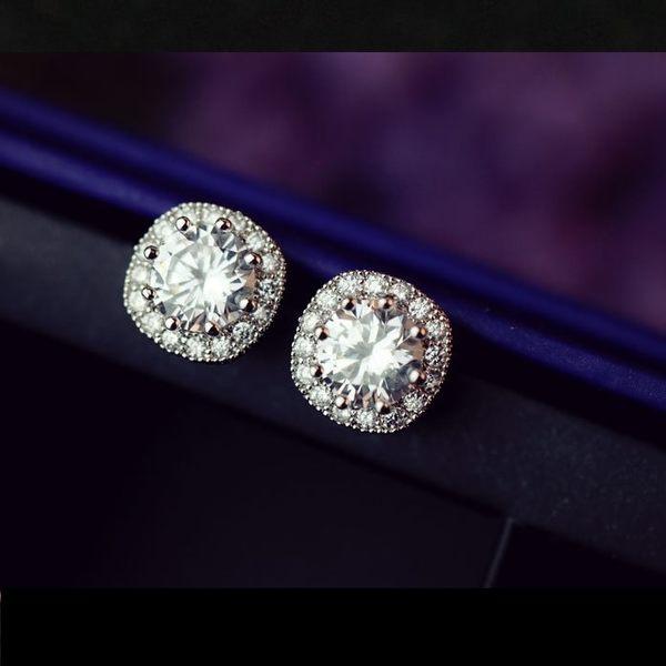 S925銀針簡潔圓角鋯石耳環 18K真白金 (0453)