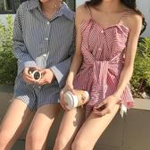 條紋長袖女襯衫學生韓版chic寬鬆顯瘦百搭一字領露肩吊帶多穿上衣