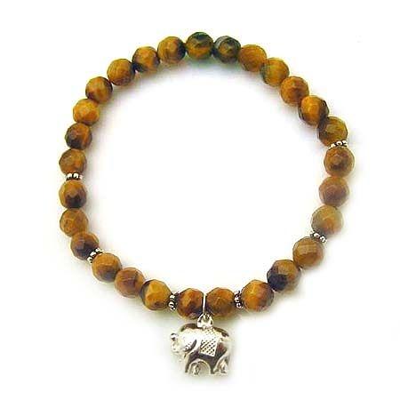 純銀大象虎眼角珠彈性手環
