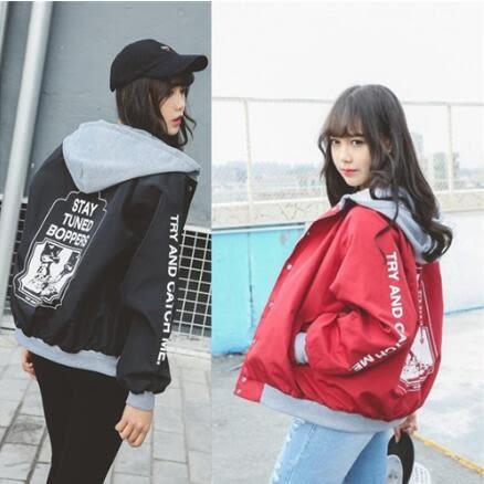 飛行外套 韓版 BF風學生棒球連帽外套 風衣夾克 花漾小姐【現貨】