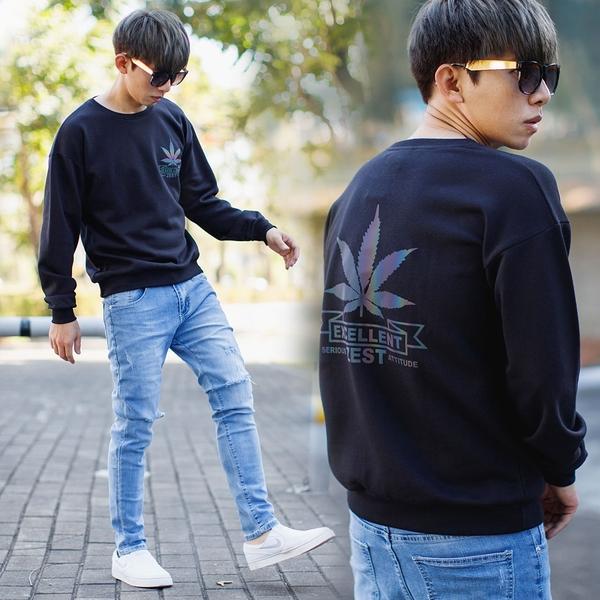 大學T 彩色反光EXCELLENT大麻葉圖騰大學T【NB0985J】