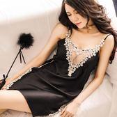中大尺碼 性感情趣薄款內衣蕾絲冰絲吊帶睡裙 zm1257【每日三C】