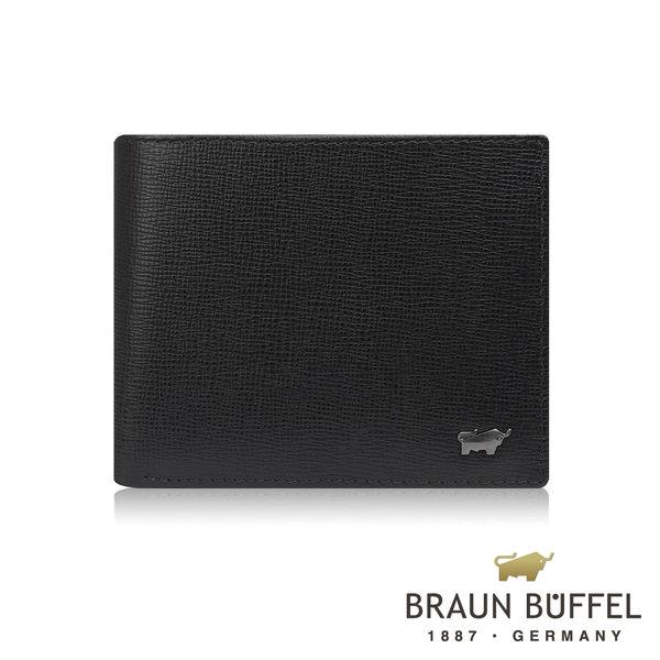 【BRAUN BUFFEL德國小金牛】阿梅爾系列8卡中間翻零錢袋皮夾(黑色) BF333-318-BK