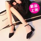【886-0518】夏季新款韓版百搭高跟鞋尖頭一字扣帶凉鞋(黑/灰)