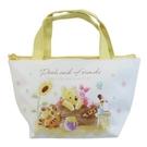 小禮堂 迪士尼 小熊維尼 皮質保冷便當袋 保冷提袋 保溫袋 野餐袋 可拆內裡 (黃 木頭) 4548626-14195