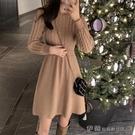 毛衣裙 針織連身裙女小個子2020秋冬新款韓版收腰顯瘦復古打底麻花毛衣裙 伊蘿