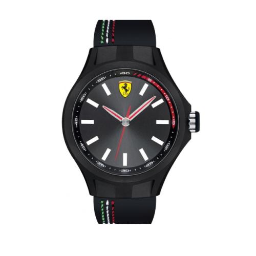 FERRARI Pit Crew速度感時尚腕錶/黑灰x橡膠/44mm/0830218