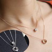Quenby 時尚雙層螺旋閃亮水鑽項鍊/配飾