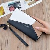 錢包 女士手拿錢包女長款三色拼接撞色氣質簡約拉鏈手機包學生錢夾皮夾