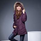 連帽外套--風格獨具的百搭單品-霧面毛邊連帽斜紋鋪綿長大衣(黑.紫M-2L)-J71眼圈熊中大尺碼