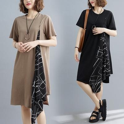 胖妹妹大碼洋裝連身裙~文藝復古大碼女裝拼接透氣短袖連身裙 N717衣時尚