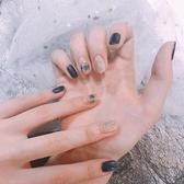 ins日系新款網紅深藍穿戴甲手工光療美甲成品環保甲片成品貼 居享優品