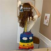 單肩包帶 斜背包 針織毛線包泰國編織彩虹包彩色條紋單肩斜背包花邊肩帶布包