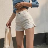 牛仔短褲 正韓夏季女裝韓版復古高腰修身彈力顯瘦A字側拉鍊牛仔短褲【限時八五鉅惠】