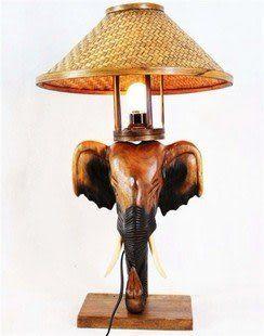 木雕工藝品 燈具燈飾象頭台燈(原木)