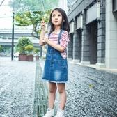 韓版女童牛仔背帶裙夏季長袖條紋T恤配背帶牛仔短裙 俏女孩