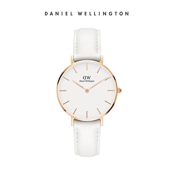 Daniel Wellington DW 手錶 32mm玫瑰金框 Classic Petite 純真白真皮皮革錶