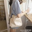 春夏新款韓國簡約純色pu女包百搭抽繩單肩水桶包休閒氣質斜挎大包『新佰數位屋』