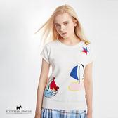 星型燙片帆船寬版短袖針織 Scottish House【AG1436】