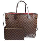 【Louis Vuitton 路易威登】N41357 經典棋盤格NEVERFULL GM大型子母肩背購物包(紅)