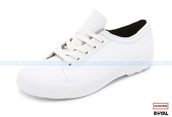 Hunter Boots 新竹皇家 Rubber Low 白色 橡膠 鞋帶 休閒 雨鞋 女款 NO.I7225