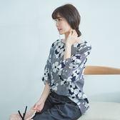 【慢。生活】藝術線條印花衫-F 7225-4 FREE藍色