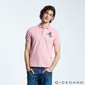 【GIORDANO】男裝經典拿破崙撞色刺繡彈力萊卡POLO衫-46 花紗粉紅
