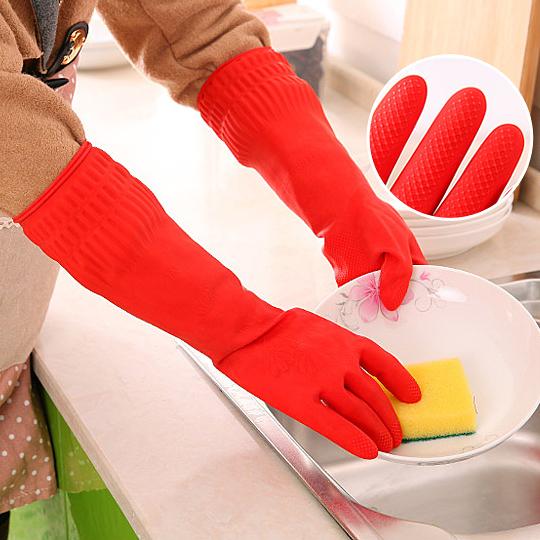 乳膠手套加厚橡膠防水加長耐用型廚房清潔家務洗碗洗