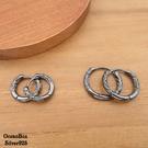 §海洋盒子§質感雕紋黑色圈圈易扣925純銀耳環.圈圈耳環