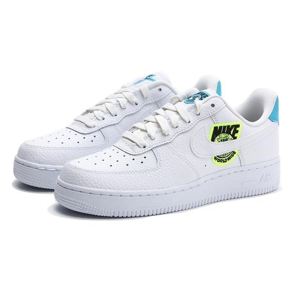 NIKE 休閒鞋 WMNS AIR FORCE1 WORLDWIDE 白 水藍 地球 刺繡LOGO 女 (布魯克林) CT1414-101