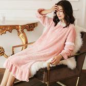 冬天珊瑚絨睡裙女蕾絲花邊長款睡裙女秋冬季法蘭絨保暖睡衣女甜美   傑克型男館