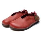 【Sp house】樂活舒適復古抓皺全真牛皮平底休閒鞋(4色可選)