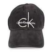 CalvinKlein CK刺繡字母絨布棒球帽(灰黑色)103152-2