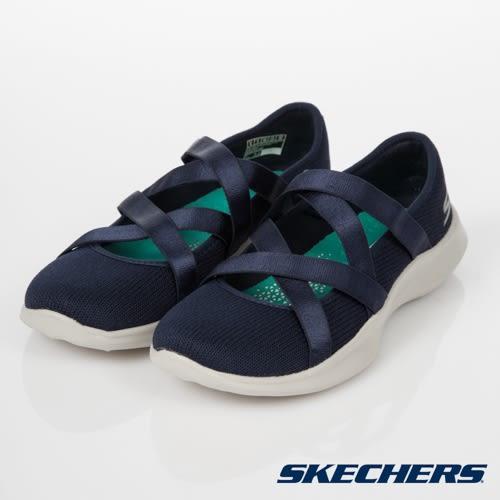 SKECHERS Serene Elation 深藍 繃帶 交叉 類芭蕾舞鞋 女 15847NVGY ☆SP☆