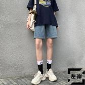 五分牛仔短褲女夏季高腰薄款寬鬆小個子闊腿褲夏天中褲【左岸男裝】