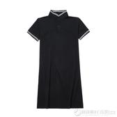 氣質情侶裝你衣我裙夏裝新款韓版POLO領短袖連衣裙女學生T恤衫男  圖拉斯3C百貨