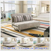 【水晶晶家具/傢俱首選】JF0684-1維爾4.7呎雙人直拉式平織印花布沙發床