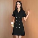 西裝裙 洋裝女夏季黑色正裝雙排扣西裝裙職業裝氣質女神風收腰顯瘦裙子-Ballet朵朵
