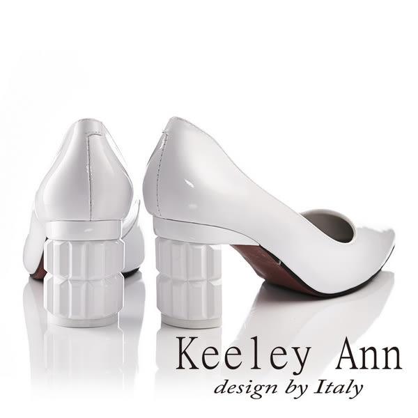 ★零碼出清★Keeley Ann時尚造形鞋跟OL真皮高跟鞋(白色)-Ann系列