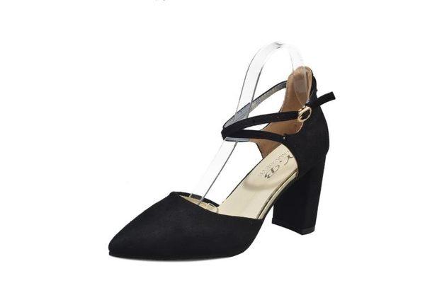 韓版秋季新款尖頭高跟鞋女粗跟中跟一字扣綁帶女單鞋紅色婚鞋女鞋     韓小姐の衣櫥