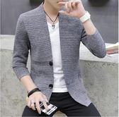 男士毛衣外套修身韓版潮流百搭V領開衫男針織衫長袖薄款帥氣外穿  後街五號