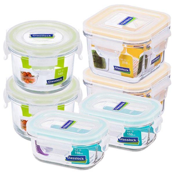 強化玻璃微波保鮮盒寶寶專屬6件組副食品保存盒Glasslock-大廚師百貨