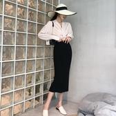v領繫帶蝴蝶結長袖收腰襯衫開叉針織半身裙包臀裙 『夢娜麗莎』