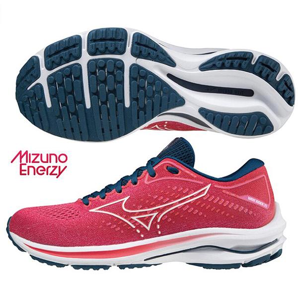 MIZUNO WAVE RIDER 25 女鞋 慢跑 ENERZY中底 避震 超寬楦 桃紅【運動世界】J1GD210601