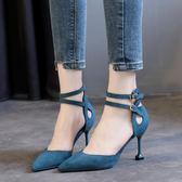 高跟鞋 一字扣貓跟鞋細跟單鞋中跟百搭黑色法式少女高跟鞋 巴黎春天