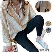 EASON SHOP(GW3720)韓版復古凹凸棉立體感撞色直條紋薄款長版側開衩單口袋長袖襯衫女上衣服落肩寬鬆