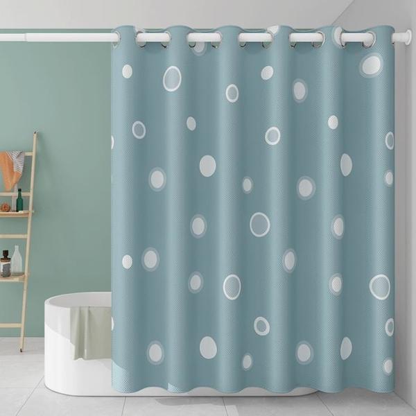 衛生間免打孔伸縮浴簾套裝浴室防水防霉門簾洗澡隔斷窗簾布羅馬孔 NMS名購新品