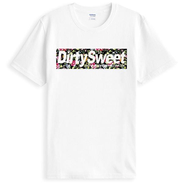 【Dirty Sweet-Flower】短袖T恤-白色 碎花設計自創品牌趣味幽默玩翻骷髏兔潮流 t-shirt