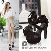 魚口涼鞋/夏季新款韓版高跟防水台粗跟鬆糕厚底羅馬女鞋子14cm「歐洲站」